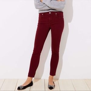 LOFT Burgundy Corduroy Curvy Skinny Jeans